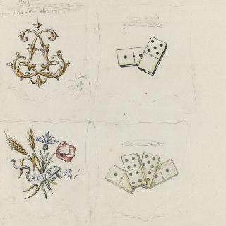 파이앙스로 만들어진 잉크병의 네 개의 면 장식용 스케치