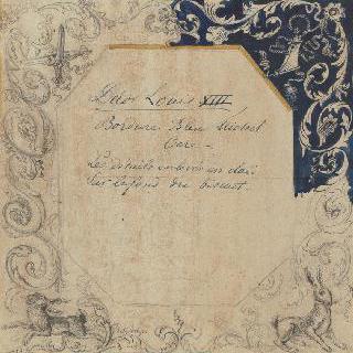 루이 13세 장식이 있는 파이앙스 판의 스케치