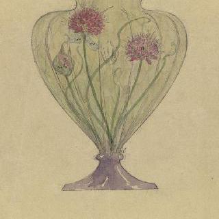 크리스탈 꽃병의 장식 스케치