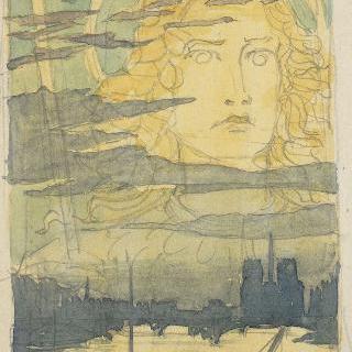 파리의 하늘 위에 나타난 후광이 드리워진 얼굴