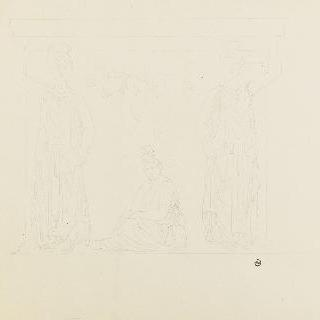 두 개의 여인상 기둥과 앉아 있는 여인