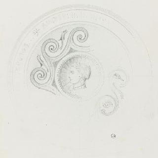여인의 옆모습 두상이 있는 그리스 장식메달