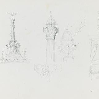 기념비적인 기둥과 세부 장식
