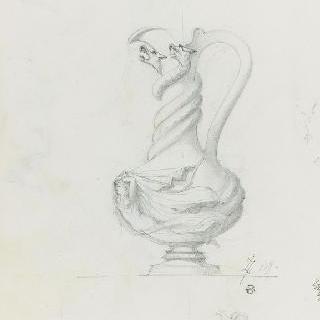 두 마리 그리퐁 장식이 있는 꽃병