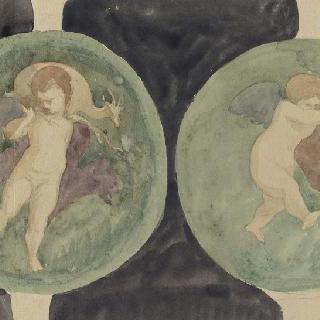 국립 박물관 (나폴리) : 아이들 그림이 있는 두 개의 원형 장식, 거울 ()