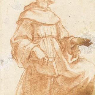 무릎을 땅에 대고 하늘을 바라보는 성프란체스코 수도회의 수도자