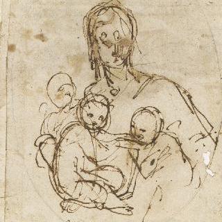 팔로 세 아이를 안고 있는 여인의 상반신 : 자비심