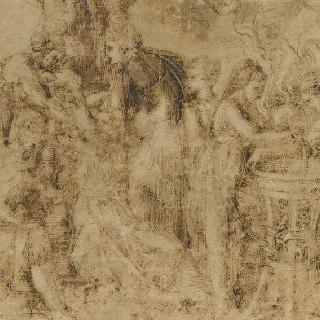여덟 명의 여인과 한 아이가 있는 구성 : 아도니스의 탄생
