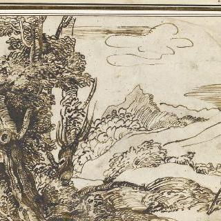 양 떼를 모는 목동이 있는 풍경