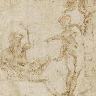 유혹자의 말에 귀를 기울이는 아담과 이브