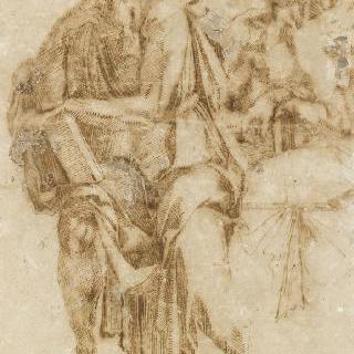 주름진 옷을 입고 책을 들고 앉아 있는 세 남자