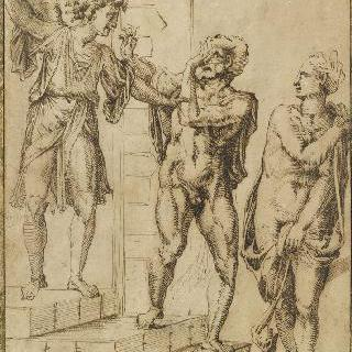 천사에 의해 천국에서 쫓겨나는 아담과 이브