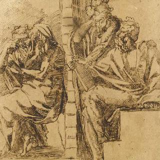 책을 들고 앉아 있는 네 명의 노인