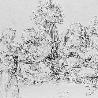 음악을 연주하는 7명의 천사들