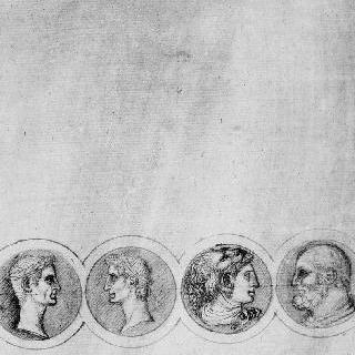두 사람씩 서로 마주 보고 있는 네 명의 남자의 얼굴이 있는 4개의 원형 장식