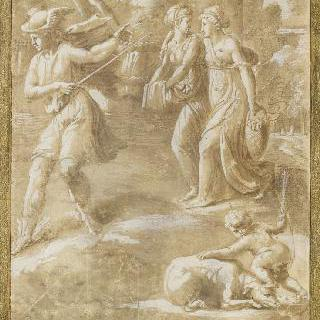 꽃을 들고 가는 두 젊은 여인을 앞서 가는 메르쿠리우스