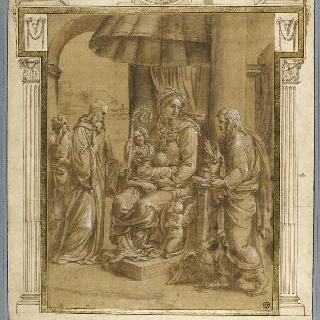 성 브누아, 복음전도사 성 요한과 함께 있는 성모와 아기 예수