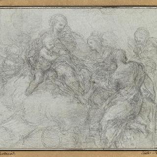 성녀 카트린 및 두 인물에게 둘러싸인 성모와 아기 예수