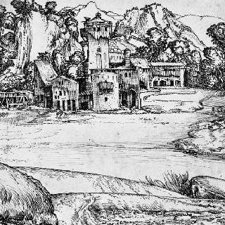 농가의 건물과 방앗간이 있는 풍경