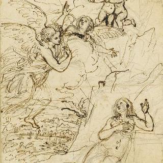 사막에서 천사들의 방문을 받는 성녀 막달레나
