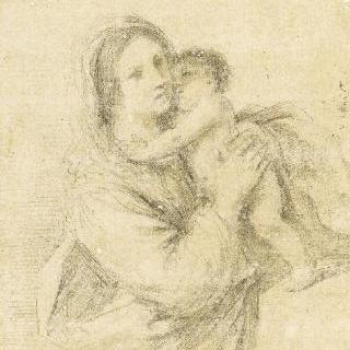 아기 예수를 팔에 앉은 성모
