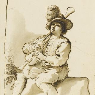 뮤제트를 연주하며 앉아 있는 남자