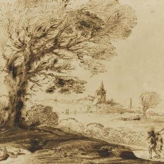 나무 아래에서 잠든 남자의 모습이 있는 바람이 부는 풍경