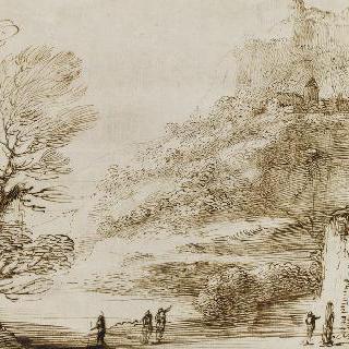 나무와 인물들이 있는 풍경