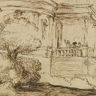 계단을 오르는 남자와 개가 있는 성의 안들 전경