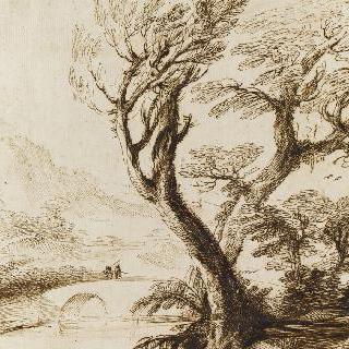 다리 위에 두 인물이 있는 풍경