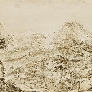 무릎 꿇은 성 제롬이 있는 산의 풍경