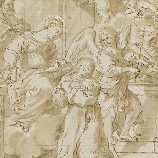 천사 앞에서 아기 예수를 안은 성녀 아그네스를 바라보는 성모