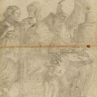 두 여자와 한 천사 앞에서 책을 읽으며 앉아 있는 주교