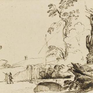 서 있는 두 남자가 있는 풍경