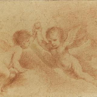 사과들 들고 있는 구름 위의 두 천사