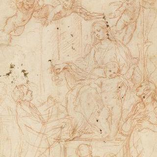 두 성자에게 둘러싸인 옥좌에 앉은 성모와 아기 예수
