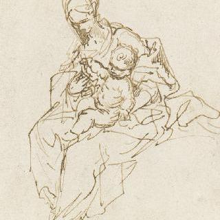 아기 예수를 무릎 위에 올려 놓고 앉은 성모