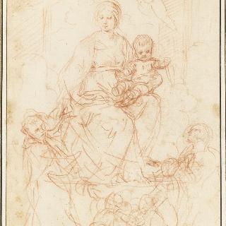 두 천사의 관을 받으며, 두 성자의 경배를 받는 성모와 아기 예수