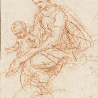 아기 예수를 무릎 위에 올려놓은 성모