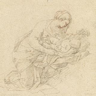 아기 예수를 천으로 감싸는, 무릎 꿇은 성모