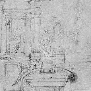 산 로렌초에 있는 메디치가의 무덤 중 하나를 모사한 크로키