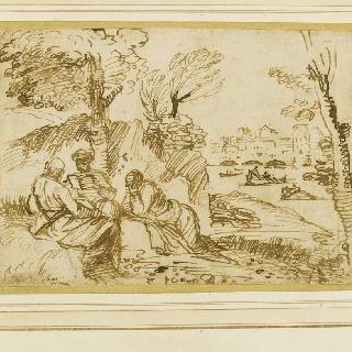 강 풍경 앞에 있는 세 명의 철학자