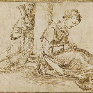 기둥 아래에서 바느질을 하는 두 여인