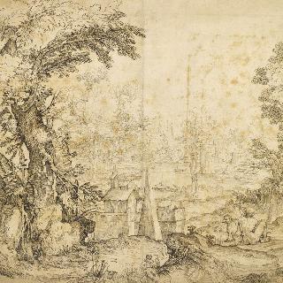 전경에 두 남자와 한 마리의 개가 있는 파노라마 풍경