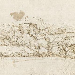요새 하나가 있는 언덕의 풍경