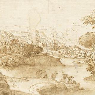 강과 멀리 요새 도시가 보이는 풍경 속의 인물들