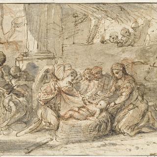 천사들과 목동들의 경배를 받는 예수