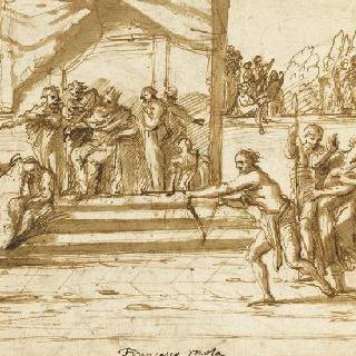 말뚝에 묶여 있는 성 세바스찬을 향하여 활을 겨누는 궁수들