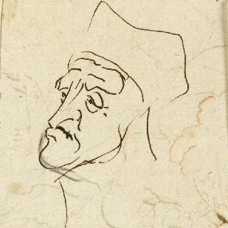 캐리커처 : 각진 모자를 쓴 남자의 얼굴