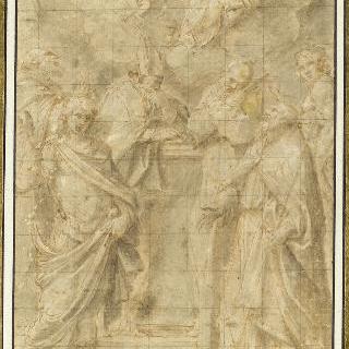 모여 있는 여섯 명의 성자들 앞에 나타난 성모와 아기 예수
